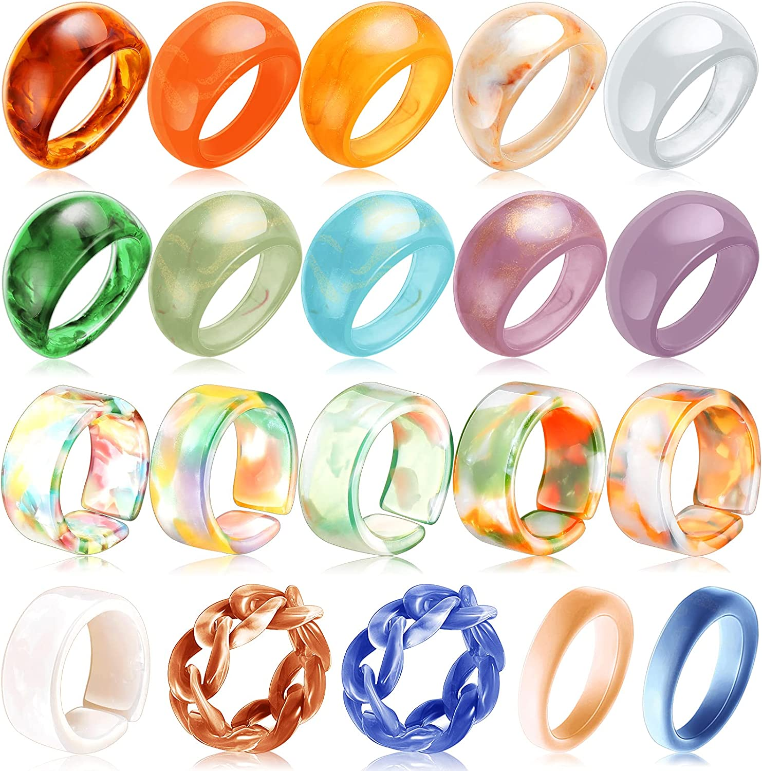 20 Pieces Colorful Resin Rings Vintage Resin Acrylic Rings Resin Statement Ring Wide Thick Dome Knuckle Finger Stackable Joint Ring Transparent Acrylic Ring Wedding Open Ring Jewelry for Girls Women