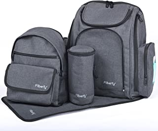 Filberry Backpack Diaper Bag Set – Large & Small Backpacks zip together for an Extra Large backpack! – - Grey