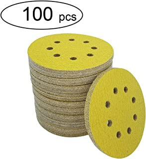 M-jump 100 Pcs 5-Inch 8-Hole 80 Grit Dustless Hook-and-Loop Sanding Disc Sander Round Sandpaper For Woodworking or Automotive (80 Grits)