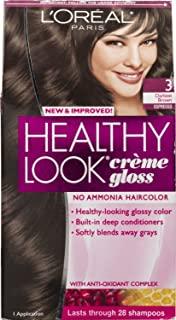 3 Pk, L'Oreal Paris Healthy Look Creme Gloss, Darkest Brown / Espresso #3