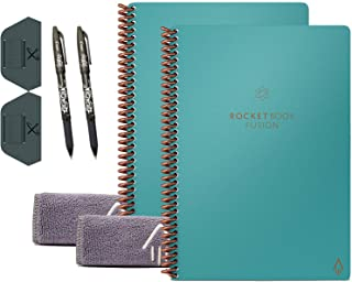 Rocketbook Fusion Smart Reusable Notebook 2-Pack Bundle with 2 Pens, 2 Microfiber Cloths and 2 Pen Stations Included (Ligh...
