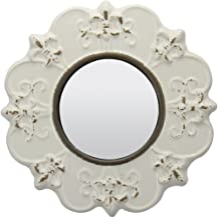 "Stonebriar Decorative 8"" Antique White Round Ceramic Accent Wall Mirror"