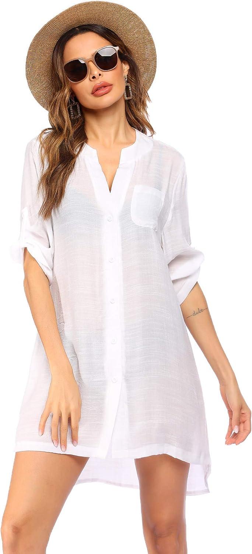 Ekouaer Women's Cover Up Shirt V-Neck Swimsuit Beach Bikini Beachwear Button Down Bathing Suit S-3XL