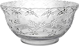 Party Essentials N120621 Classic Style Plastic Embossed Punch Bowl, 12 qt Capacity, Clear (Case of 6)