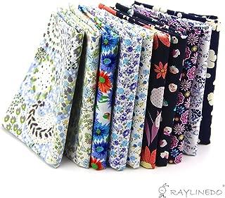 RayLineDo 10 Pcs Different Pattern Multi Color 100% Cotton Poplin Fabric Fat Quarter Bundle 18