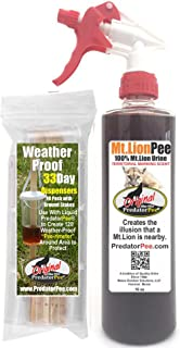 PredatorPee – 100% Pure Mountain Lion Urine – 16oz Trigger Spray Bottle Combo with 33 Day Dispensers
