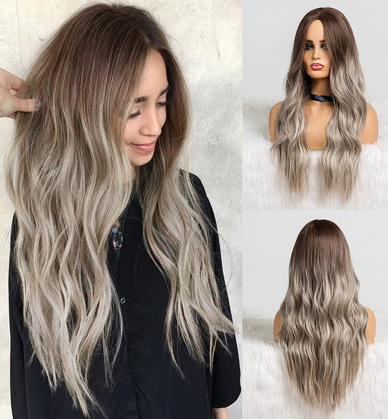 LEMEIZ Ombre Dark Brown to Ash Blonde Hair Wig Mixed Blonde Hair Wavy Wig Brown Roots Blonde Wigs uk Synthetic Afro Wigs 20 inch LEMEIZ-132