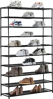 YOUDENOVA 50 Pair Shoe Rack Organizer Black Shoe Rack Organzier Non-Woven Fabric Shoe Storage Organizer Cabinet
