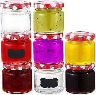 25 Petit Pots à Confiture de 125ml avec Couvercle & Etiquettes - Bocaux en Verre Hermétiques de Conservation