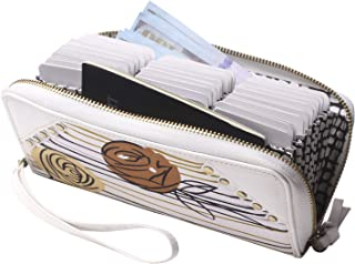 Credit Card Wallet Leather RFID Wallets for Women Zip Around Clutch Large Travel Purse Wristlet (White Flower)