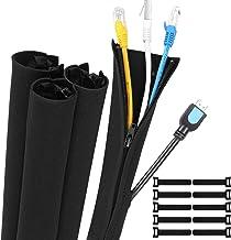 Gozlu Cache Cable,4 x 50cm Câble Rangement Gaine avec Zip+ 10pcs Souple Attache Cable, Néoprène Organisateur pour Ranger o...