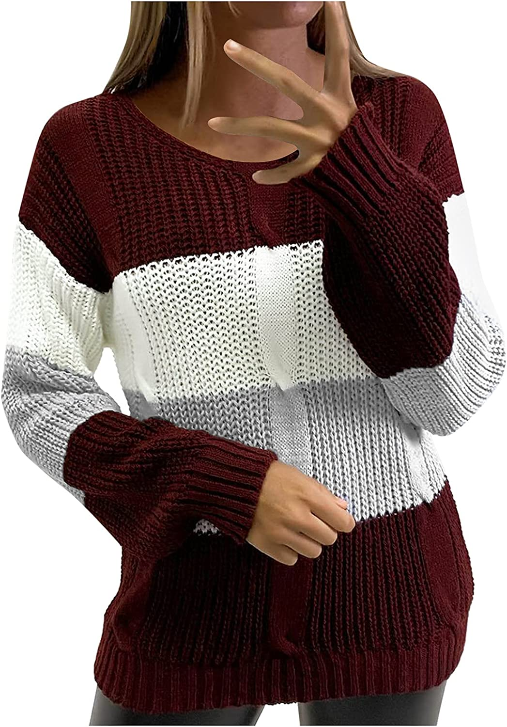 Women's Sweaters Autumn Winter Casual Long Sleeve V Neck Color Block Patchwork Pullover Knit Sweater Tops