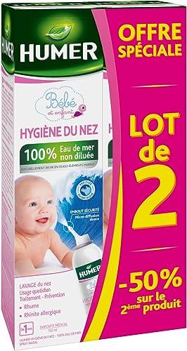 Humer - Spray Hygiène du nez Nourrissons/Enfants - 100% eau de mer - Excellente tolérance - Lot de 2, 150ml