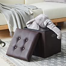 YOUDENOVA 15 inches Storage Ottoman Cube with Metal Handles, Step Foot Rest Stool, Foam Padded Seat Support 350lbs, Faux Leather Brown