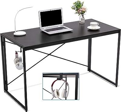 Cozy Castle Computer Desk Folding Desk 47'' Inch Desk Black Desk Deak Small Desks for Small Spaces Writing Study Desk Foldable Desk Table for Home Office Laptop Notebook Desk Desktop Black Frame