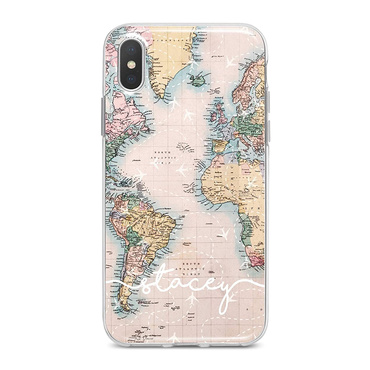 Lex Altern TPU Case for iPhone Apple Xs Max Xr 10 X 8+ 7 6s 6 SE 5s 5 Flight Map Initial Simple White Name Pattern Cute Phone Cover Silicone Print Protective Girl Drawing Clear Flexible Personalized