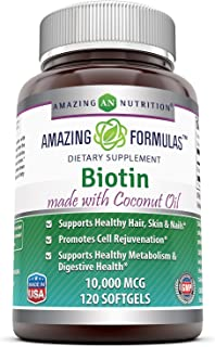 Amazing Formulas Biotin Made with Coconut Oil Dietary Supplement - 10,000mcg - 120 Softgels - Supports Healthy Hair, Skin ...