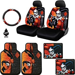 Yupbizauto 10 Pieces DC Comic Harley Quinn Car Seat Covers Floor Mats and Steering Wheel Cover Set with Air Freshener