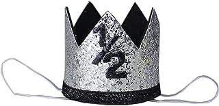 Kirei Sui Baby Black Sparkle Gold Silver 1st 1/2 Birthday Crown Headband