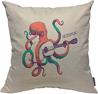 Mugod Octopus Decorative Pillow Case Colored Octopus Playing Guitar Sea Animal Cuttlefish Squid Throw Pillow Cover Home Decor Cotton Linen Square Cushion Cover for Couch Bed Sofa 18X18 Inch