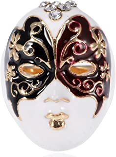 Alilang Enamel Paint Butterfly Venetian Masquerade Lady Face Mask Ring