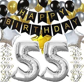 """KUNGYO Clásico Decoración de Cumpleaños -""""Happy Birthday"""" Bandera Negro;Número 55 Globo;Balloon de Látex&Estrella, Colgando Remolinos Partido para el Cumpleaños de 55 Años"""