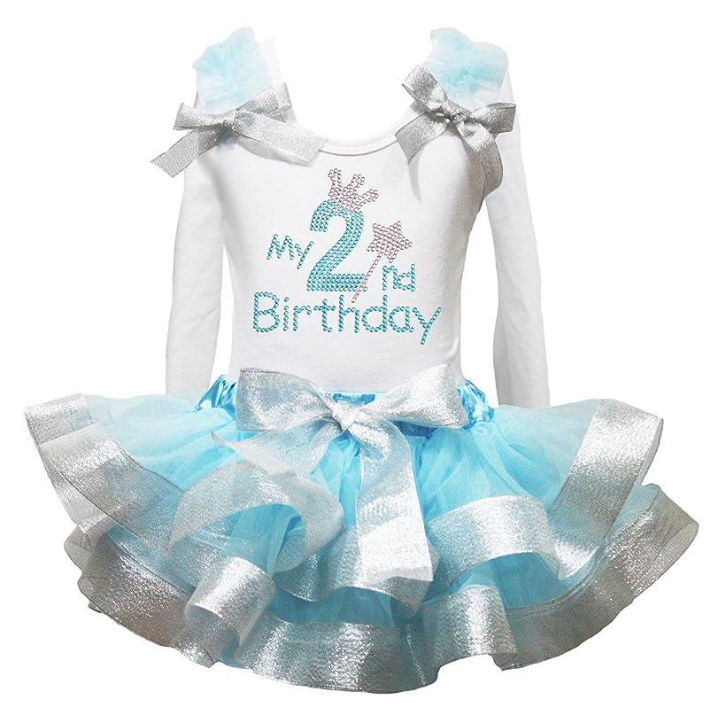 Petitebella My 2nd Birthday White L/s Shirt Blue Silver Petal Skirt Set Nb-8y