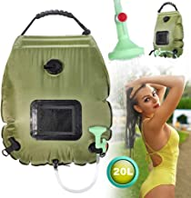 Intsun Outdoor Solar Shower Bag 20L/5 Gallons Portable Camp Shower Bag with Removable Shower Head and Hose for Camping Traveling Hiking Fishing Beach Swimming