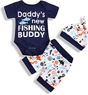 YOUNGER TREE Newborn Baby Short Set Infant Boys Daddy's New Fishing Buddy Fish Patterns Short Summer Outfits
