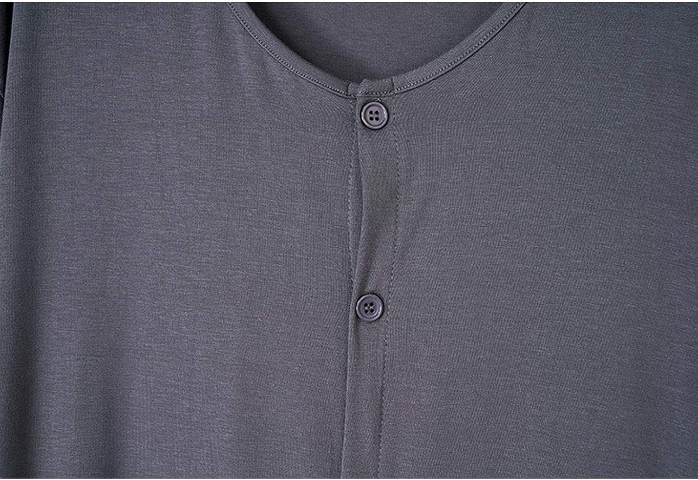 GTHTTT Men's Nightshirt Pajamas Set V-Neck Short Sleeve Loungewear Sets