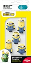 dekora Sugar Cake Or Cupcake Decoration-Pack of 6 Edible Minions Figures, Suitable for Vegetarians, Mix, Approx 4-5cm