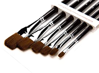 Professional Filbert Paint Brush Sets,6pcs Flat Red Sable Hair Artist Paint Brushes for Acrylic,Watercolor,Oil painting