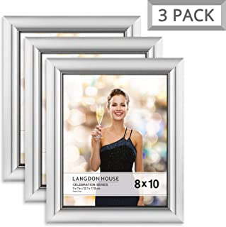 Langdon House 8x10 Picture Frame (3 Pack, Silver), Silver Photo Frame 8 x 10, Wall Mount or Table Top, Set of 3 Celebration Collection