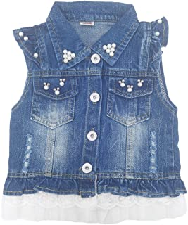 Chumhey Baby & Little Girls Lapel Ruffle Sleeve Lace Trim Pearls Denim Vests