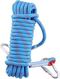 Syiswei Static Rock Climbing Rope 12MM, Upgraded Carabiners Outdoor Safety Fire Escape Rope Climbing Rope Rappelling Rope