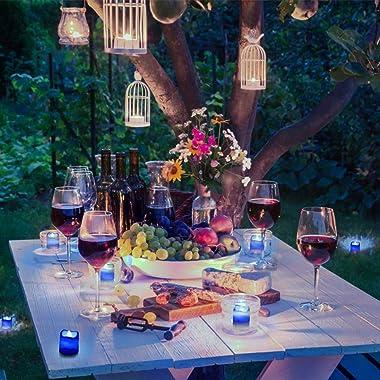 Litake Blue Light Candles, Romantic LED Blue Candles 24 Packs, Flameless Blue Tea Lights, Flickering Navy Blue Led Votive Can