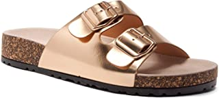Softey Women's Comfort Buckled Slip on Sandal Casual Cork Platform Sandal Flat Open Toe Slide Shoe