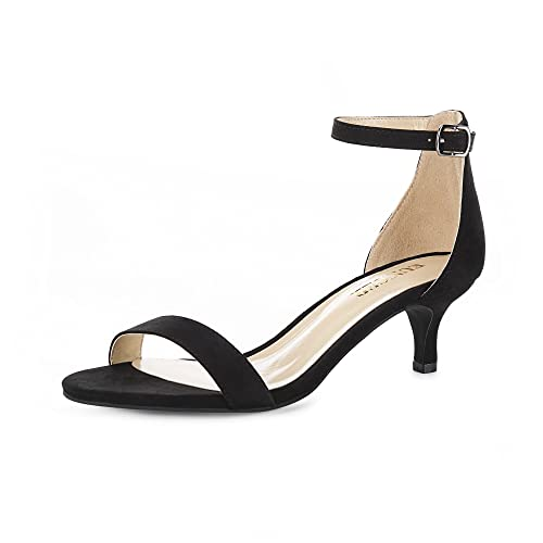 167ce760dc71 Eunicer Women s High Kitten Heel Stiletto Pump Sandals with Ankle Strap  Wedding Party Shoes (Half