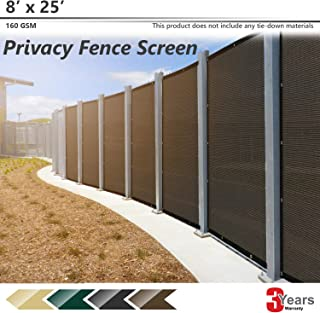 BOUYA Brown Privacy Fence Screen 8' x 25' Heavy Duty for Chain-Link Fence Privacy Screen Commercial Outdoor Shade Windscreen Mesh Fabric with Brass Gromment 160 GSM 88% Blockage UV -3 Years Warranty