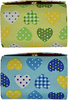 Double Lipstick Case with Hearts Pattern - Set of 2 - Blue & Green
