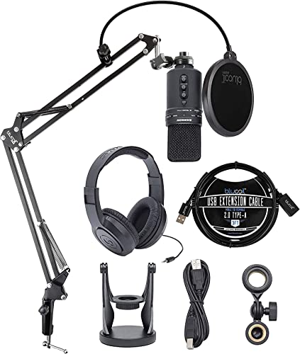 popular Samson G-Track Pro USB Condenser Microphone for Windows and Mac Recording Bundle with Blucoil Boom Arm Plus Pop Filter, 3-FT USB 2.0 Type-A Extension wholesale discount Cable, and SR350 Over Ear Stereo Headphones outlet online sale