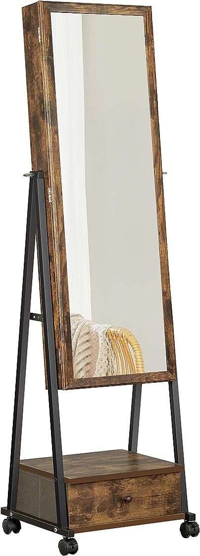Specchio a figura intera, specchiera portagioielli con serratura - songmics JJC004X01