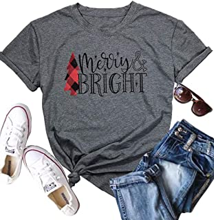 Short Sleeve Christmas Shirts for Women Merry and Bright Shirt Letter Print Christmas Graphic Tee Shirts Tops