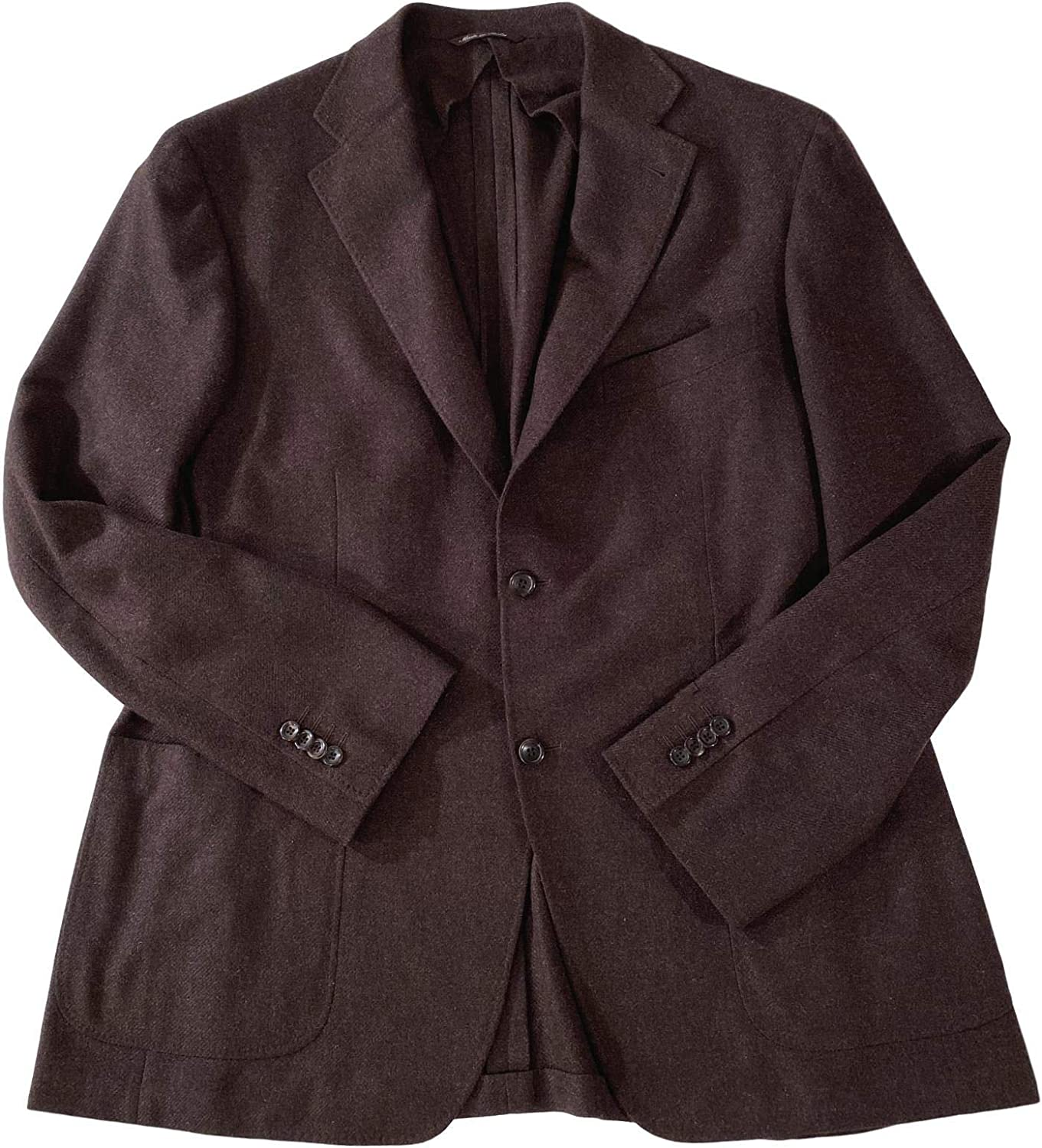 Canali Men's KEI Collection Dark Brown Cashmere/Wool Unlined 2 Button 2 Vent Topstitched Blazer Sportcoat Size US 46R