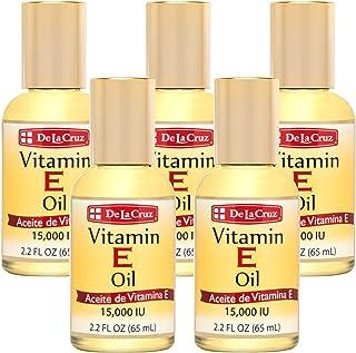De La Cruz Vitamin E Oil 15,000 IU, No Preservatives, Artificial Colors or Fragrances, Made in USA 2.2 FL. OZ. (5 Bottles)