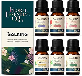 Floral Essential Oil Set, Pure and Natural Essential Oils, Rose, Cherry Blossom, Lavender, Gardenia, Ylang Ylang, Chamomil...