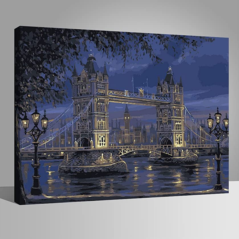 LIUDAO Paint by Numbers Kit Oil Painting on Canvas 16x20 Inch (Wooden Frame,London Tower Bridge)