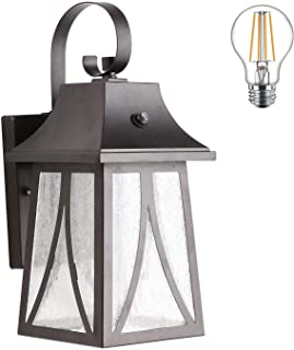 Cloudy Bay Outdoor Wall Lantern with Dusk to Dawn Photocell Sensor,Includes LED Filament Bulb,Oil Rubbed Bronze