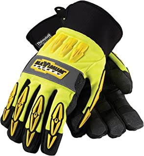 Maximum Safety 120-4070/L Mad Max Thermo Professional Winter Workmans Gloves with Synthetic Leather Palm and Thinsulate Lining, Lime Yellow/Black, Large