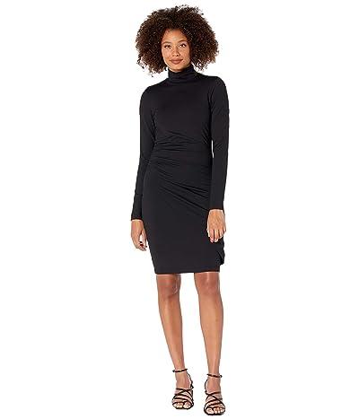 Susana Monaco Mock Neck Overlap Gathered Dress (Black) Women
